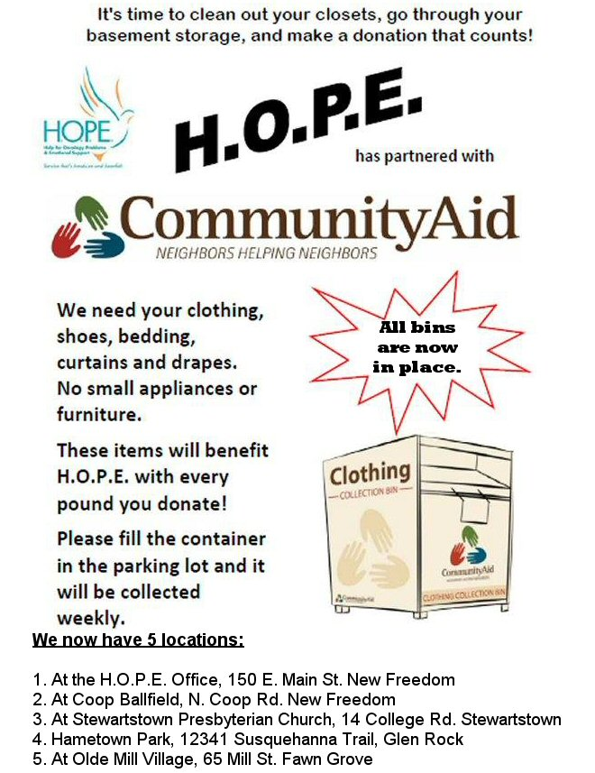Community Aid Bins new locations